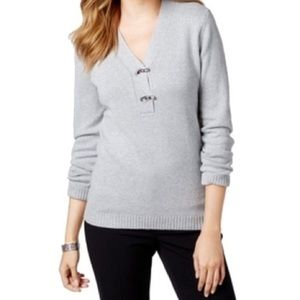Charter Club Gray Shimmer V-Neck Sweater, Size P/S